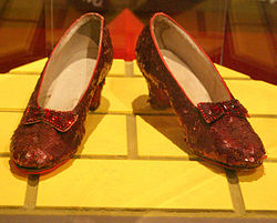 """Dorothy's iconic red shoes from """"The Wizard of Oz"""""""